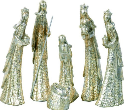 TII - Resin Metallic Painted Christmas Nativity - Set of 6