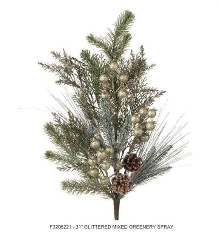 RAZ Imports - Mixed Pine, Pinecones and Gold Glittered Bulbs Spray 31""