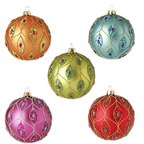 "RAZ Imports - 4"" Glittered Ball Ornaments - Set of 5"