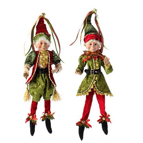 "RAZ Imports - Botanical Garden Theme - 16"" Red, Gold and Green Decorative Elves"