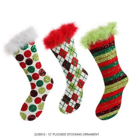 RAZ Imports - Flocked Red, White & Green Christmas Stocking Ornaments 12""