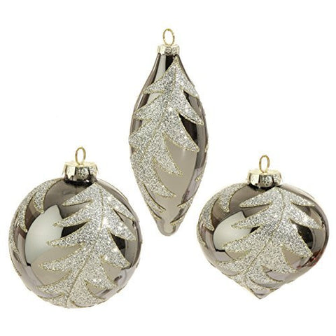 "RAZ Imports - Formal Affair - 4"" Silver Glittered Leaf Christmas Tree Ornaments - Set of 3"