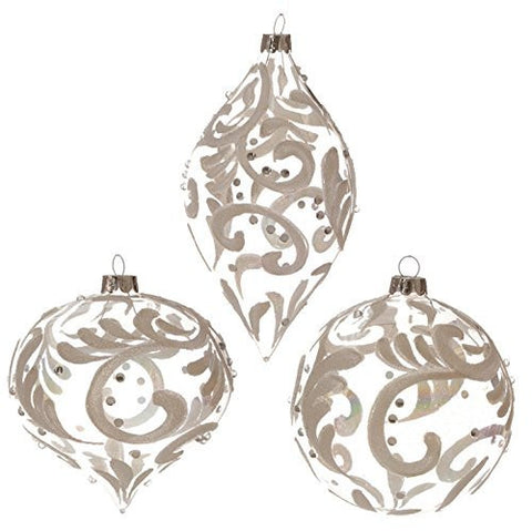 "RAZ Imports - 4"" Opalescent Swirled Design Christmas Tree Ornaments - Set of 3"
