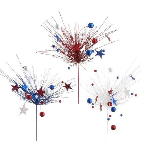 RAZ Imports - Glittered Red, White & Blue Sprays with Stars and Balls 36""