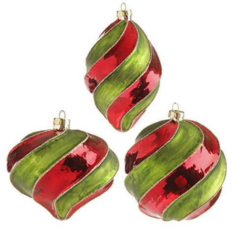 "RAZ Imports - 4"" Glittered Swirl Ornaments - Set of 3"