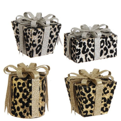 RAZ Imports - Flocked Leopard Print Present Ornaments - (Set of 4)