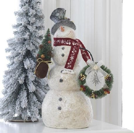 RAZ Imports - White Snowman with Wreath and Christmas Tree