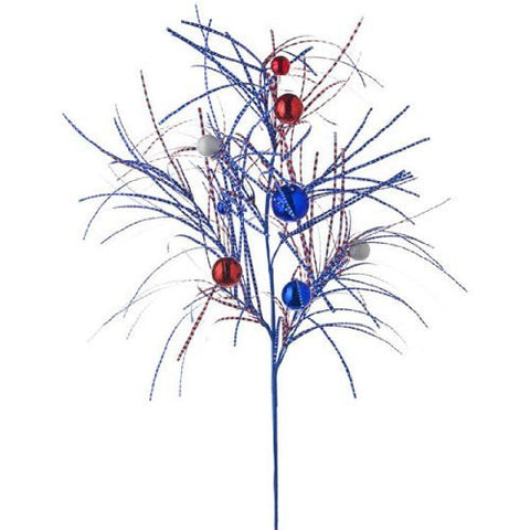 RAZ Imports - 4th of July - Patriotic Red, White & Blue Spray with Red and Blue Glittered Decorative Balls 36""