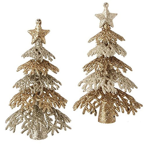 "RAZ Imports - 6"" Glittered Tree Ornaments - Set of 2"