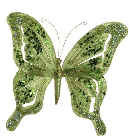RAZ Imports - Jeweled Green Clip-On Butterfly 6.5""