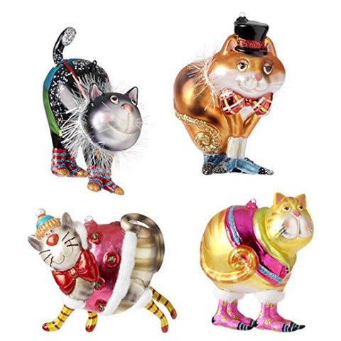 RAZ Imports - Multicolored Glass Cat Ornaments