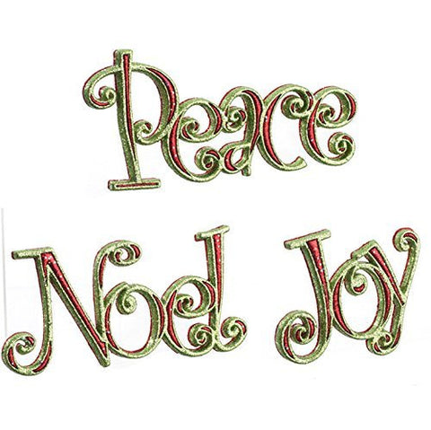 "Glittered Peace, Joy & Noel 7"" Hanging Christmas Tree Ornaments - Set of 3"