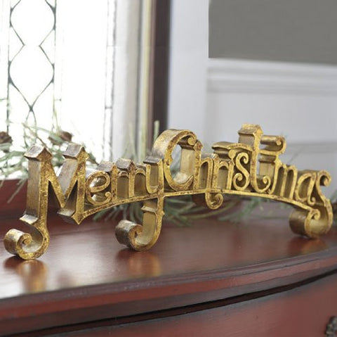 "RAZ Imports - Golden 17"" ""Merry Christmas"" Sign - Christmas Decoration / Signage"