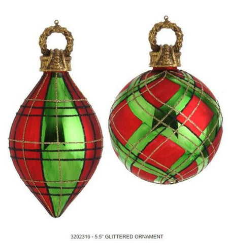 RAZ Imports - Red and Green Plaid Glass Ornaments