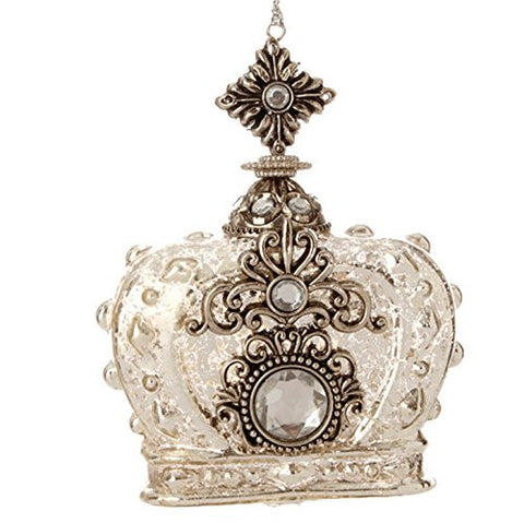 "RAZ Imports - Gilded Grey - 4"" Antiqued Crown Christmas Tree Ornament"