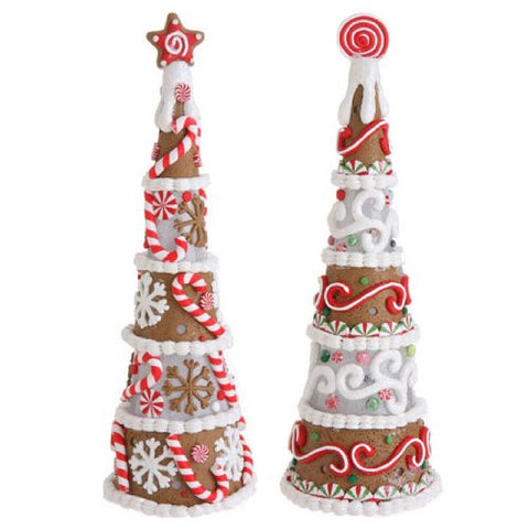 RAZ Imports - Multicolored Lighted Gingerbread Cone Trees 12""