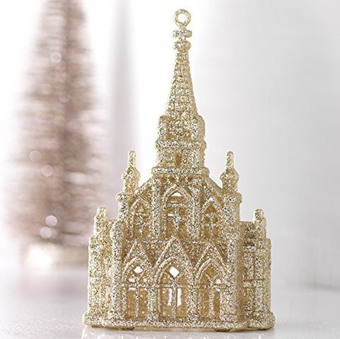 "RAZ Imorts - 6"" Gold Glittered Church Christmas Tree Ornament"