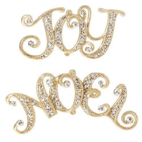 RAZ Imports - Gold Jeweled Joy and Noel Ornaments