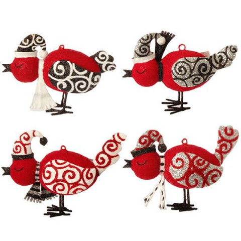 RAZ Imports - FLOCKED BIRD ORNAMENTS - (SET OF 4)
