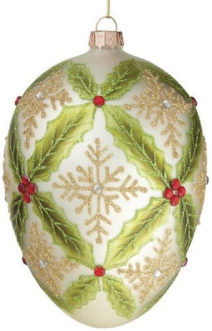 Sullivans - Holly and Snowflakes Glass Egg Shaped Ornament