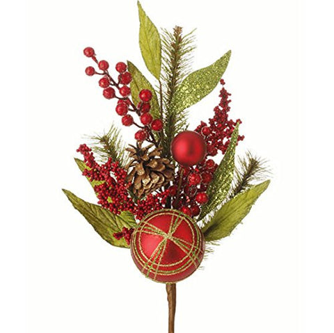 "RAZ Imports - 19.5"" Christmas Pine Spray Decorated with Christmas Ball Ornaments and Berries"
