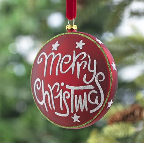 RAZ Imports - Merry Christmas Glass Disc Ornament 4""