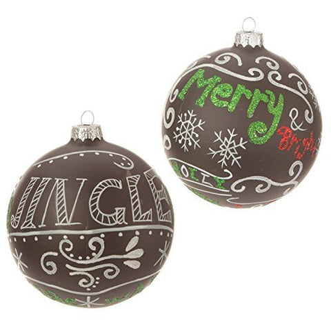 "4"" ""Merry"" and ""Jingle"" Ball Ornament - RAZ Imports Theme: Jingle All the Way - Set of 2"