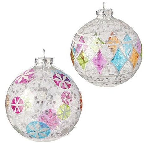 "RAZ Imports - 4.5"" Glittered Ball Ornaments - Set of 2"