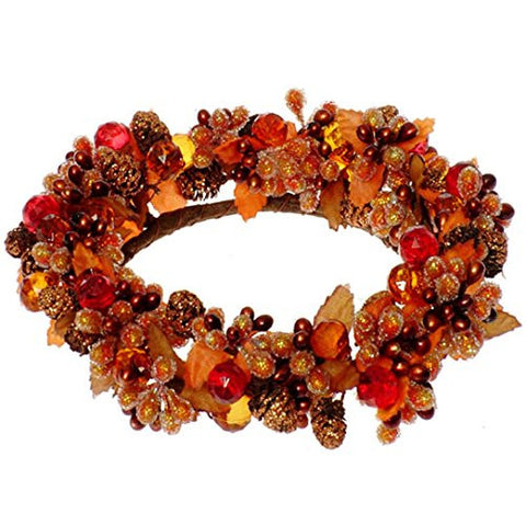 "RAZ Imports - Fall Thanksgiving Themed 6"" Beaded Berry Candlering"