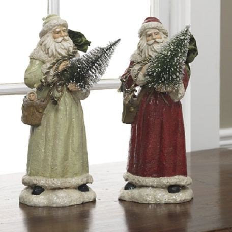 "RAZ Imports - Vintage Santas with Trees 13"" - Set of 2"
