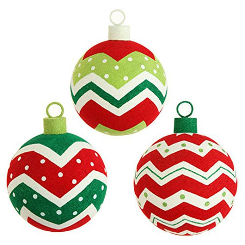 "RAZ Imports - 6"" Flocked Ball Ornaments - Set of 3"