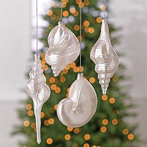 "RAZ Imports - 8"" Pearlized Seashell Christmas Tree Ornaments"