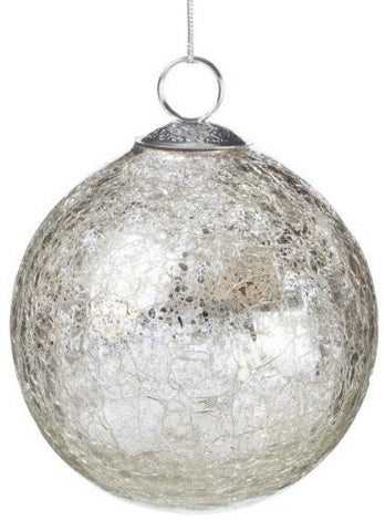 Sullivans - Silver Crackle Glass Ball Ornament 4""