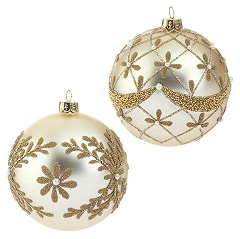 "RAZ Imports - 4"" Beaded and Pearl Gold Glass Ball Christmas Tree Ornaments - Set of 2"