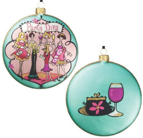"Sullivans - 4"" ""Party Diva"" Double Sided Glass Disc Christmas Tree Ornament"