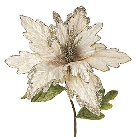 "RAZ Imports - 13"" Silver and Cream Poinsettia (26"" Stem)"