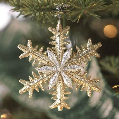 RAZ Imports - Glittered Gold and Silver Snowflake Ornaments 2""