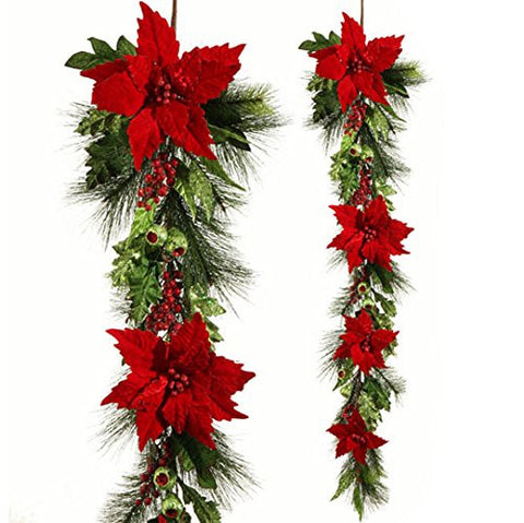 "RAZ Imports - Tally Tartan - 54"" Red Poinsettia & Ornament Garland"