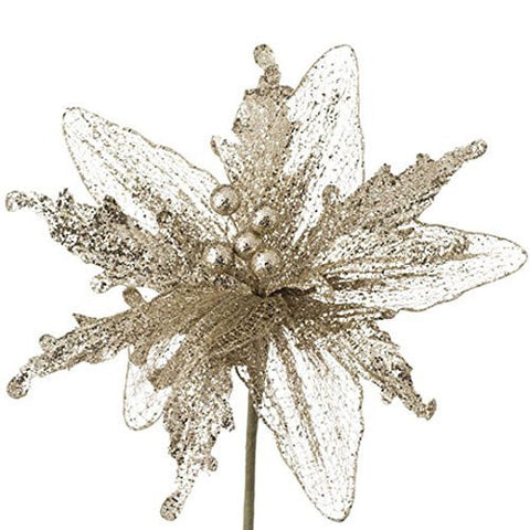 "RAZ Imports - 11"" Glittered Poinsettia (9"" Stem)"
