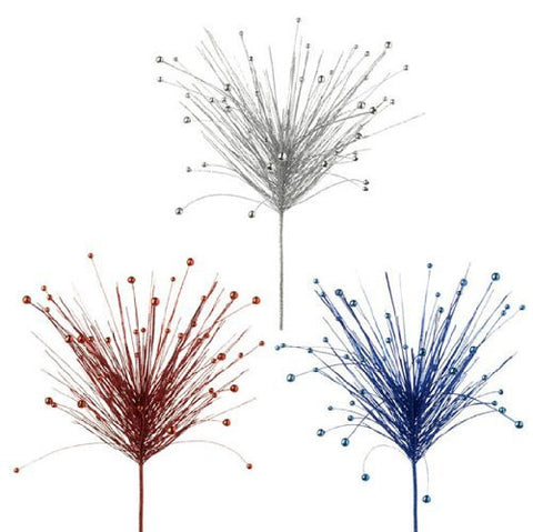 "RAZ Imports - Patriotic Glittered Red, Silver & Blue Sprays 30"" - Set of 3"