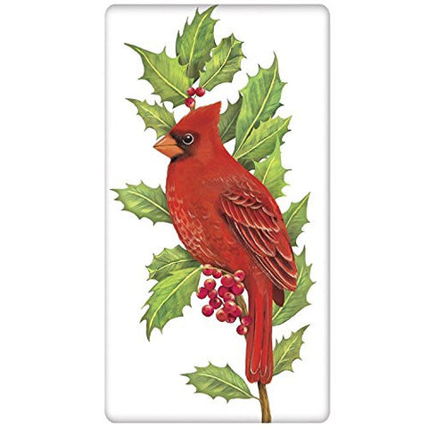 Mary Lake-Thompson - Cardinal On Holly Bagged Towel