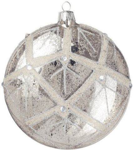 Sullivans - Glittered Silver Mercury Glass Disc Ornament 5""
