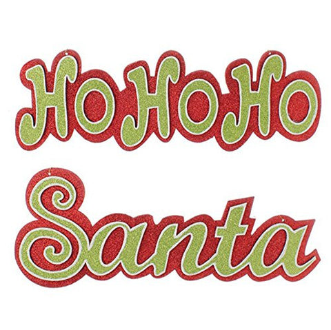 "RAZ Imports - 18"" ""Santa"" and ""HO HO HO"" Christmas Decorative Hanging Signs or Christmas Ornaments - Set of 2 (one of each)"