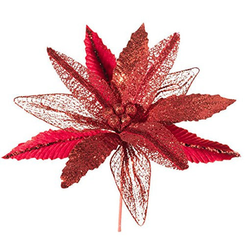 "RAZ Imports - 12"" Red Poinsettia Spray"
