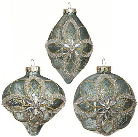 "RAZ Imports - 4"" Antiqued Blue Flower Gem Christmas Tree Ornaments - Set of 3"