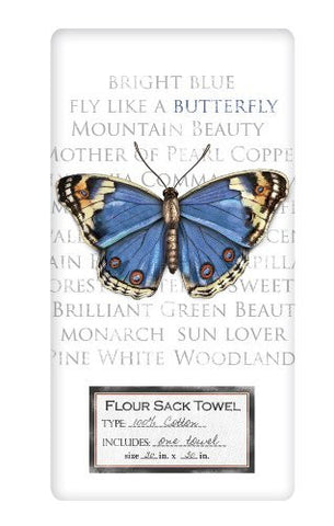 Mary Lake-Thompson - Blue Butterfly Flour Sack Towel