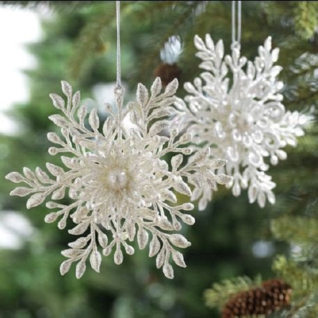 RAZ Imports - White Snowflake with Pearl Ornaments