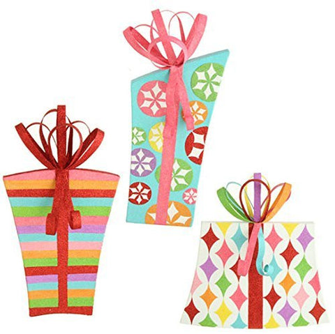 "RAZ Imports - 14"" Flat Glittered Present Ornaments - Set of 3"