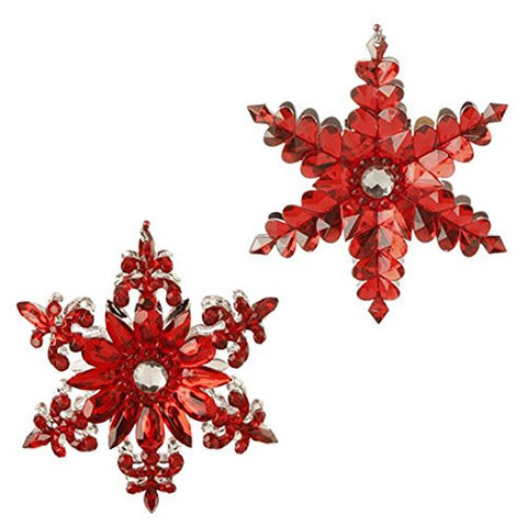 "RAZ Imports - 5"" Jeweled Snowflake Ornaments - Set of 2"