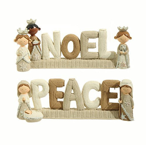 "RAZ Imports - 11.5"" Faux Knit ""Noel"" and ""Peace"" Decorative Christmas Nativity Signs - Set of 2"